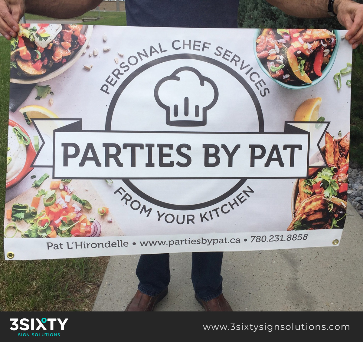 Parties By Pat Custom Banner Designed & Printed by 3Sixty Sign Solutions in Edmonton, AB