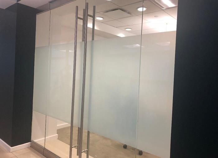 Glass door film in Edmonton